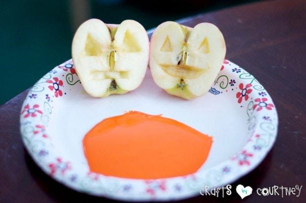 Jack-O-Lantern Apple Stamping: Halloween Craft: Getting Started