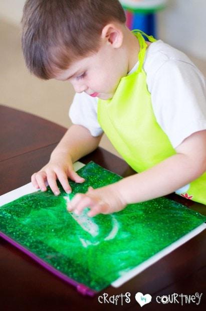 Glitter and Gel Sensory Bag: Finishing Touches