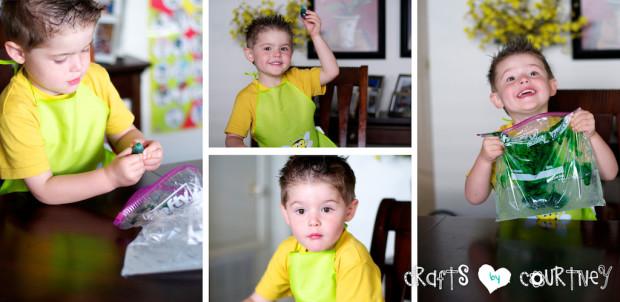 Glitter and Gel Sensory Bag: Add Food Coloring