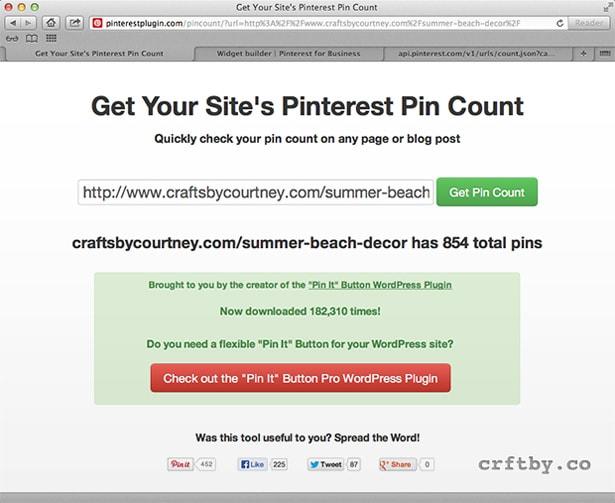 Get Pin count using PinterestPlugin.com