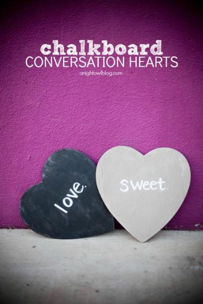 10+ Super Cute DIY Valentine Chalkboard Crafts: Chalkboard conversation hearts