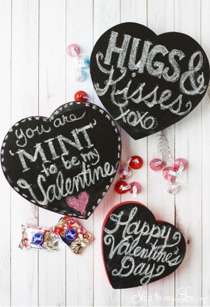 10+ Super Cute DIY Valentine Chalkboard Crafts: Chalkboard Valentine candy box