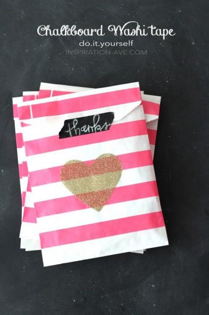 10+ Super Cute DIY Valentine Chalkboard Crafts: Chalkboard washi tape