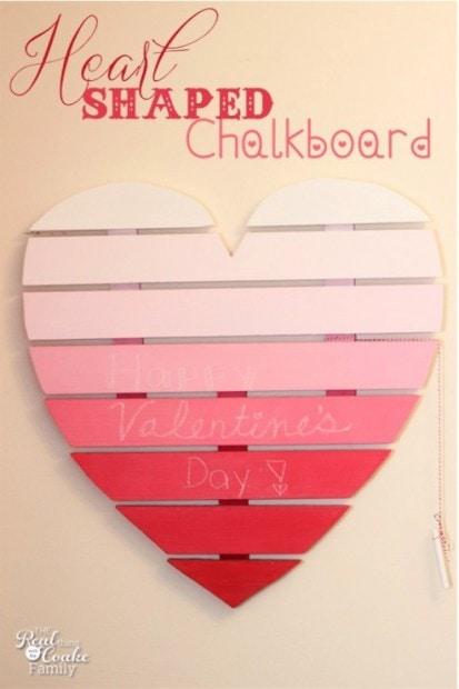 10+ Super Cute DIY Valentine Chalkboard Crafts: Heart shaped chalkboard