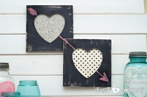 10+ Super Cute DIY Valentine Chalkboard Crafts: Pottery Barn knockoff Valentine heart frames